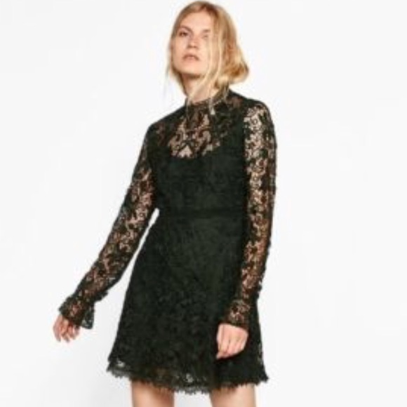 7f1f27dbcabb9 Zara Dresses | Dark Green Lace Dress | Poshmark